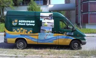 Polep Aquapark - tisk s laminem + řezaná grafika